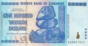 Hundred-Trillion Zimbabwean Dollar Bill
